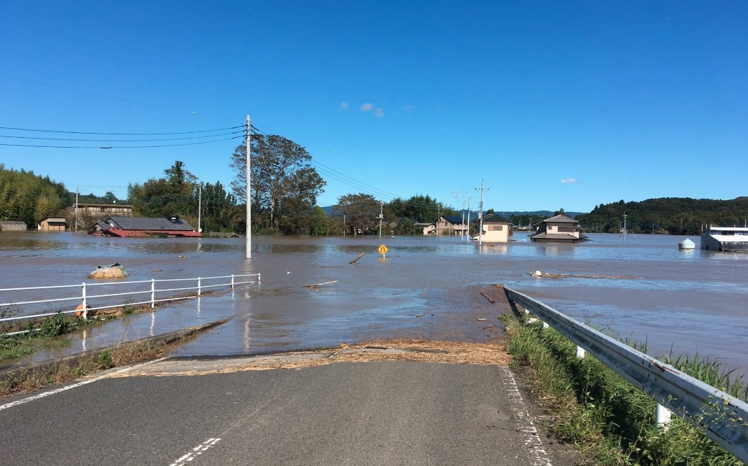 久慈川(くじがわ)氾濫