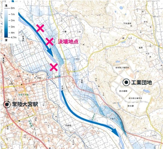 久慈川(くじがわ)決壊した場所や地図