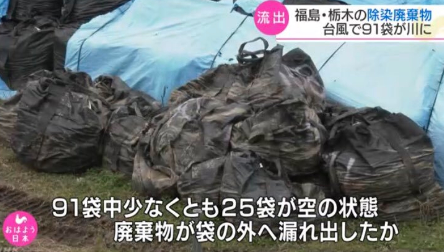 除染廃棄物を詰めた袋流出
