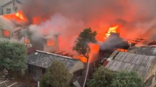 京都市南区の竹材店で火災