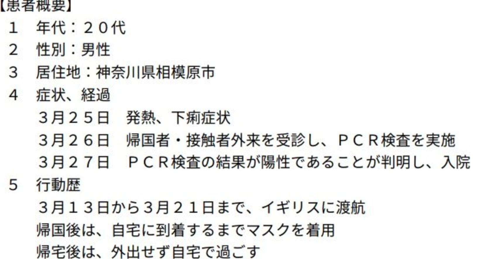 イギリス帰国の神奈川県相模原市20代学生(男性)は誰で住んでる場所や学校はどこ?行動歴は?
