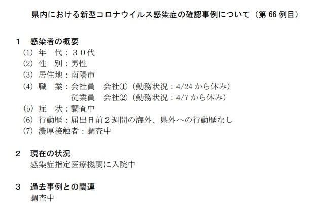 山形県南陽市の会社員(佐勇サユウ)30代男性は誰でどこ住み?行動歴や感染経路は?